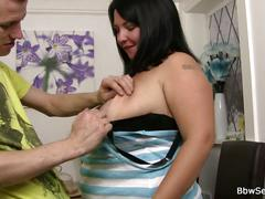 Huge titted bbw fucks married guy