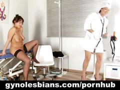 Lesbian doctor straponing the patient