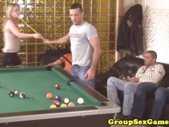 Amateur european gangbang on a pool table