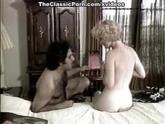 Ginger lynn allen, tiffany blake, tom byron in classic porn scene