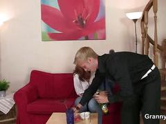 Busty old mature bitch gives head and rides cock