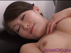 Japanese milf masturbating on couch
