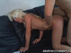 College girl takes a risky creampie