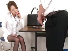 Cute teacher masturbation and footjob