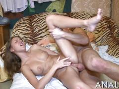 Cute pink snatch drilled while a beauty moans