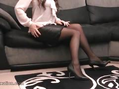 Sexy secretary returns from work and enjoys touching herself in her secret leather lingerie