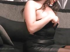 babe, big boobs, busty, lingerie, teasing, leather, skirt, more