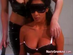 Latex lesbian mistress and her slave