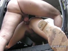 Huge boobs blonde anal banged in london fake taxi