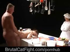 Kitchen hard catfight finishes with a dirty facial cumshot