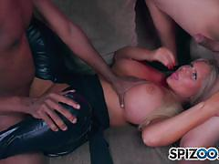 Big ass and tits karen fisher gets two cock to play with