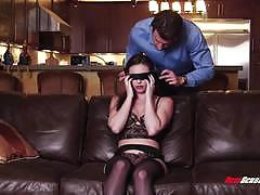 casey calvert, blowjob, doggystyle, lingerie, blindfold, sucking
