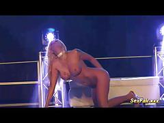 Scorching blondes public sex show