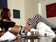 Rachel evans fucks in knee high socks