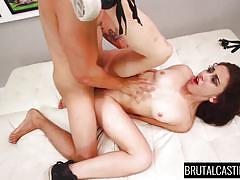 small tits, tattoo, anal, casting, brutal, rough sex, cum on face, brunette babe, tied hands, brutal castings, fetish network, mandy muse