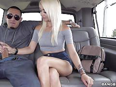 Playful blonde gets a ride with the bang bus