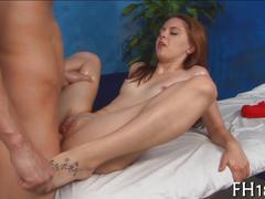 Brunette sucking hard and making him cum