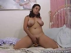 Busty zoey masturbates her hairy pussy with dildo