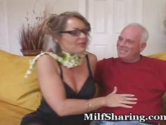 amateur, brunette, milf, milfsharing, mom, mother, old, older, mommy, cougar, cub, couple, stockings, kissing, foreplay, blowjob, doggie, cuckold