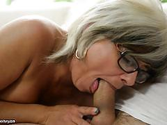 ex girlfriend, blowjob, cumshot, tits, glasses, shaved, natural, one on one, shaved pussy, on top, mature, old woman, eating pussy, old, riding cock