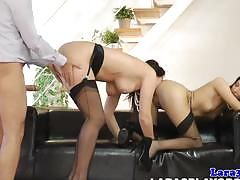 Naughty babes fucked in threesome