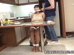 Mature babe with big boobs bondage
