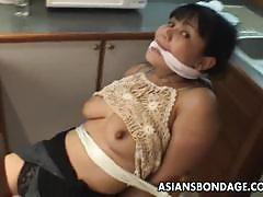 Mature babe with big boobs bondage