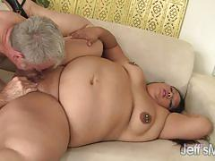 Fatty latina takes a huge cock