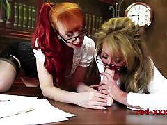 Horny babes enjoy lesbian play
