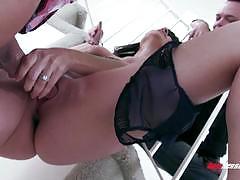 dana dearmond, brunette, hardcore, lingerie, blindfold, threesome