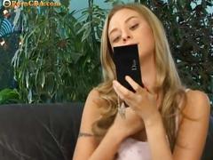 Hot blonde teen on mirror