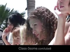 Two hot chicks in a lustful outdoor group sex