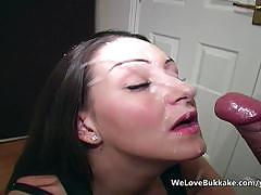 Hot brunette sprayed with thick cum