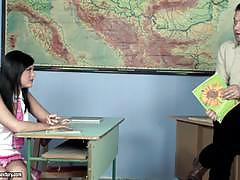 Madison parker bends over her desk and lets her teacher give her some