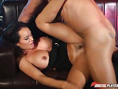 Franceska jaimes gets a big sticky load all over her tits after its been in...