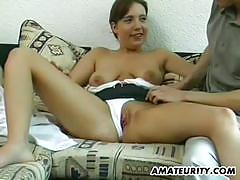 Amateur girlfriend rides his hard member