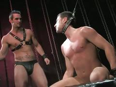 Devilish hunks in threeway bondage fuck