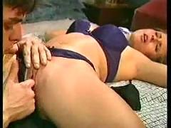 Teenage babe fucking with her boyfriend in their house