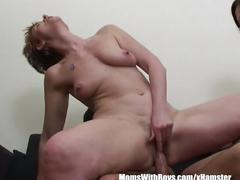 Threesome mother daughter tandem fucking young cock