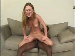 Blonde babe fucked by big black cock