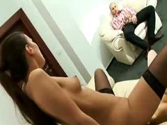 Two lesbian play and man enjoys