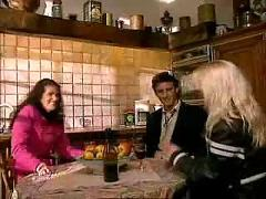 Two horny babes fucking her boyfriend in kitchen