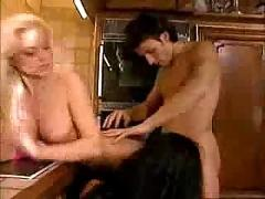 Two horny babes fucking her boyfriend in kitchen