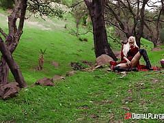 blonde, parody, babe, outdoor, wood, kissing, masturbating, digital playground, xander corvus, elsa jean