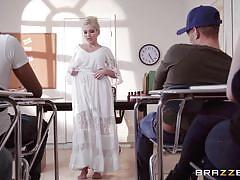 Erotic teacher gets on her knees to suck a big cock