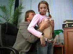 Cute and teenage babe fucking with her boss