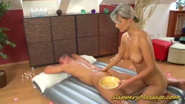 Nasty masseuse gets oral hard and pussy fucked on table