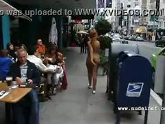 Nude in san francisco:  hot black girl walks naked through crowded streets
