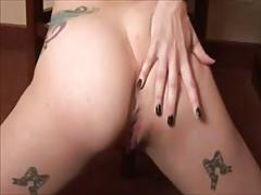 Crazy tatooed emo teases on cam