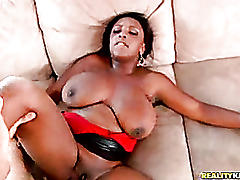 Big tittied bitch gets pounded on her couch